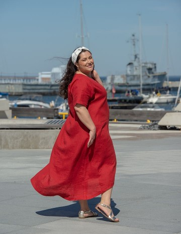 Pikk kleit EVA terrakota-punane