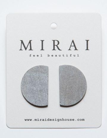 Earrings MODERN half moon metallic silver