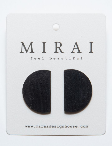 Earrings MODERN half moon black