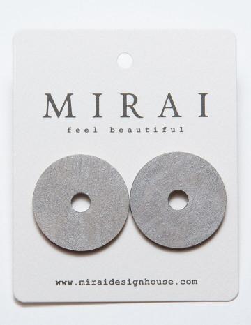 Earrings MODERN round metallic silver