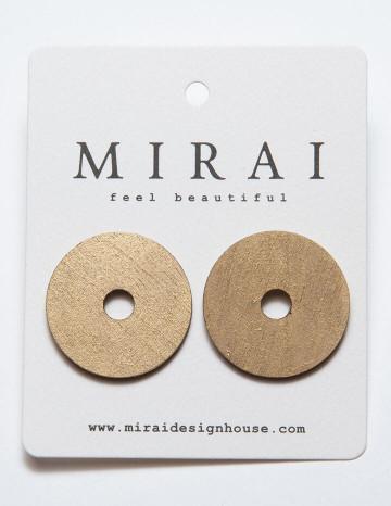 Earrings MODERN round metallic antique gold