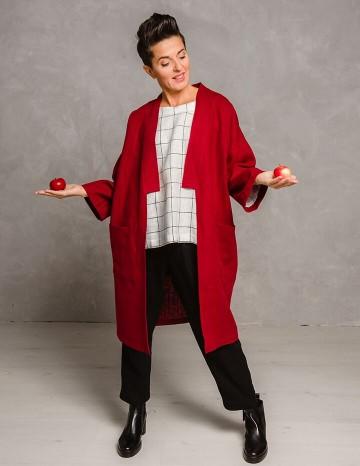 Kimono coat ADELE red
