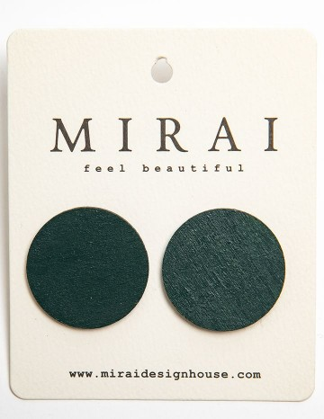 Earrings MODERN green dot