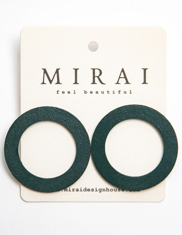 Earrings MODERN green circle